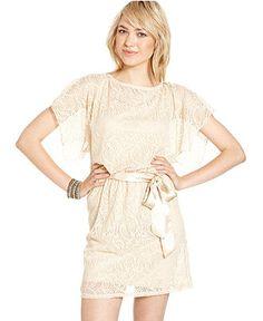 WishesWishesWishes Juniors Dress, Short Sleeve Belted Lace - Juniors Dresses - Macy's