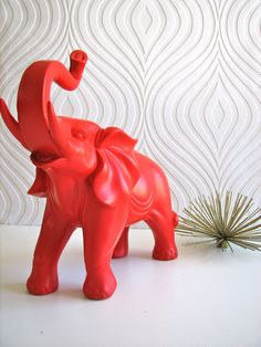 Ollie the fun red elephant by mahzerandvee on Etsy, $49.00
