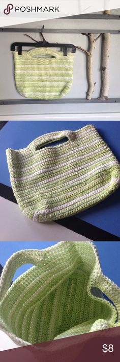 Crochet Clutch I crocheted this clutch in 100cotton variegated yarn so it is durable and washable.  It's a stylish way to carry your snacks and water bottle to the beach or the office.  Unlined. Beautiful yellowy greens and white throughout. Handmade Bags Clutches & Wristlets