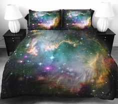 Green galaxy quilt cover galaxy duvet cover galaxy sheets space sheets outer space bedding set bedspread with two matching pillow covers