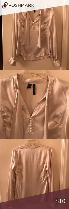 MNG Mango cream beige silk toe front blouse EUC size medium. Tie front bow blouse. Perfect for work! Mango Tops Blouses