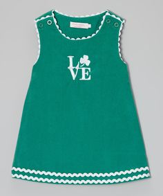 This Green Shamrock 'Love' Shift Dress - Infant, Toddler & Girls by Emily Lacey is perfect! #zulilyfinds