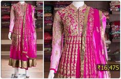Get a royal look wearing this pink anarkali suit with heavy embroidery work and zari border panel.