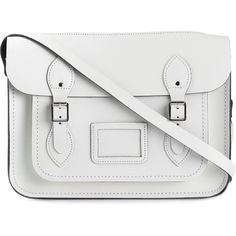 The Cambridge Satchel Company Zipped Satchel ($172) ❤ liked on Polyvore featuring bags, handbags, white, white leather handbags, white leather satchel, zipper purse, white satchel handbags and white handbags