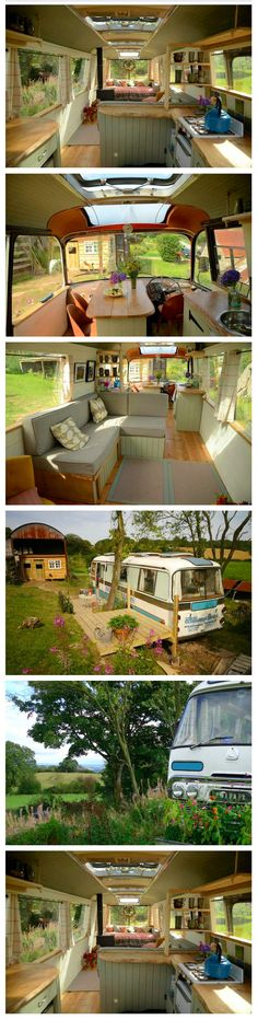 So, you found a great deal on an old bus that has some potential to be restored to its former glory. What do you do after you pick it up and find out that it's not salvageable? Transform it into a chic home, like this family. You'll find solar panels for efficiency, along with a wood burning stove and other old school amenities still rule in the English countryside.
