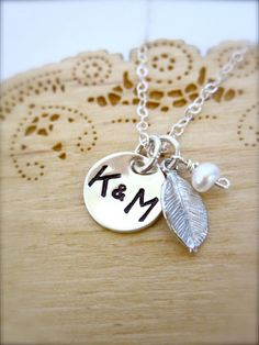 Monogrammed initials sterling silver necklace