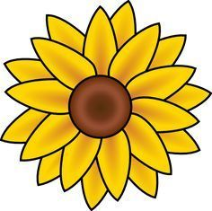 Free Printable Sunflower Stencils | Sunflower clip art - vector clip art online, royalty free  public ...