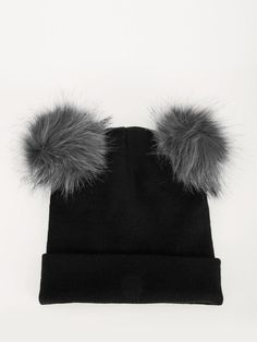 fceef9367f6 Buy New Look Black Double Faux Fur Pom Beanie for Girls Online in India