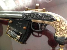 Hello Friends!!! I have been interested in Steampunk guns since my wife first introduced me to the culture, I have seen some great weapons people have built, here is one of mine.. I built this using a DENIX REPLICA FLINTLOCK PISTOL AND IS NOT A REAL FIREARM THE BODY IS MADE OF SOLID HEAVY ALUMINUM AND THE HANDLE IS PLASTIC AND THERE ARE NO MOVING PARTS ON THIS ITEM... The following items were used to build this, vintage sight glass from copper laboratory boiler with coiled copper inside…