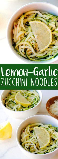 Lemon-Garlic Zucchini Noodles - Eat Yourself Skinny Veggetti Recipes, Zoodle Recipes, Spiralizer Recipes, Vegetable Recipes, Vegetarian Recipes, Cooking Recipes, Healthy Recipes, Vegetable Noodles, Zucchini Noodles