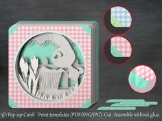 Tunnel Card D PopUp Card Papercut Template Royal Croquet