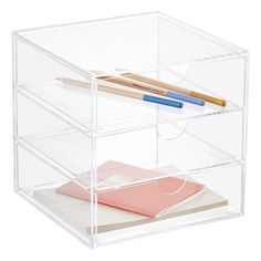 Shop Desk Accessories and Organization solutions today. Office Storage, Desk Organization, Box Storage, Organizing Ideas, Acrylic Box, Clear Acrylic, Shoe Drawer, Desktop Storage, Desk With Drawers