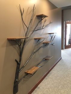 Tree of Life Wall Shelf – Frontier Iron Works Wall Shelf Decor, Wall Shelves, Iron Wall Decor, Wood Wall Shelf, Diy Wall Art, Diy Wall Decor, Home Room Design, Home Interior Design, Interior Decorating