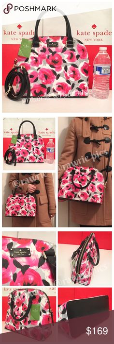 """New Kate Spade Domed floral roses Satchel 100% authentic. Rose bed printed canvas with black leather trim. 14-karat light gold plated hardware. Zip top closure and fabric lining. Inside zip and slip pockets. Double handles drop 4"""". Measures 11.5"""" (L) x 9"""" (H) x 4.75"""" (W). Longer detachable and adjustable strap for shoulder and crossbody wear. Brand new with tag. Comes from a pet and smoke free home. kate spade Bags Crossbody Bags"""