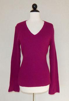ANN TAYLOR Magenta Pink Angora Blend Knit Ribbed V-Neck Sweater NEW Size M #AnnTaylor #VNeck