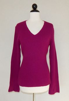 ANN TAYLOR Magenta Pink Angora Blend Knit Ribbed V-Neck Sweater NEW Size M #AnnTaylor #VNeck