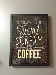 Check out A Yawn is a Silent Scream for Coffee Vinyl Sticker Decal / Sticker - Shadow boxes and more - Wall Quote on amberrockstar