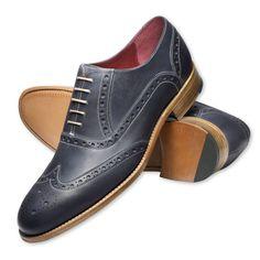 Blue Lombard Calf Brogue Shoes | Charles Tyrwhitt
