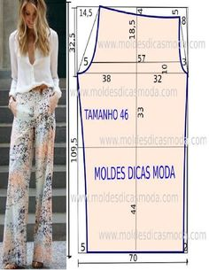 Discover thousands of images about Pallazo pants pattern size 46 Dress Sewing Patterns, Sewing Patterns Free, Sewing Tutorials, Clothing Patterns, Free Pattern, Sewing Pants, Sewing Clothes, Fashion Sewing, Diy Fashion