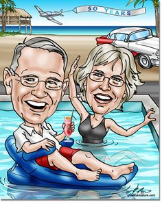 50th Wedding Anniversary Gifts from GiveAcaricature.com