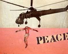 """Nancy Spero """"Peace, Helicopter and Hanging Christ""""  1968  Gouache, photograph and collage on paper"""