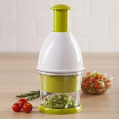 Chop your veggies quickly and easily with our Chef's Mate Rotating Vegetable Chopper. With only a few quick pushes of the plunger you'll have evenly chopped veggies. Keep pressing the plunger for minced veggies - perfect for a quick and healthy salsa! The Chef's Mate Chopper can be used on a cutting board or with the included chopping cup. When you are finished, the whole unit quickly disassembles and can be put in the dishwasher for easy cleanup.