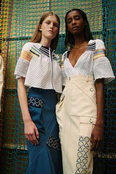 Pastel-hued bohemia with geometric embroidered details. Peter Pilotto Backstage SS16