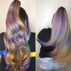 Half up half down lace front ombré wig with dark roots and pastel purple, yellow, pink, and blue tips Purple Wig, Lilac Hair, Hair Color Purple, Green Hair, Ombre Colour, Pastel Purple, Purple Yellow, Soft Grunge Hair, Coiffure Hair