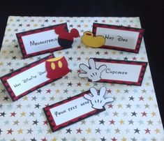 Mickey Mouse Themed Food Mickey Mouse Food, Mickey Decorations, Christian Baptism, Happy Crafters, Party Food Labels, Food Signs, Mickey Birthday, Food Tent, Food Themes