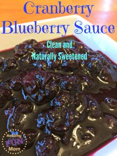 With the holidays around the corner, this cranberry blueberry sauce is naturally sweetened and would make a perfect side to your family feast! For more healthy recipes, check out www.healthyfunmom.com #cleaneating #holidayfood