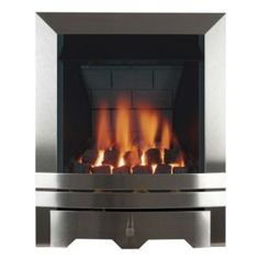Focal Point Lulworth Brushed Stainless Steel Manual Control Inset Gas Fire - B&Q for all your home and garden supplies and advice on all the latest DIY trends Gas Fires, Brushed Stainless Steel, Fire Department, Family Room, New Homes, Chrome, Manual, House, Home Decor