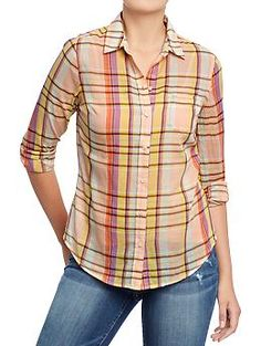 Women's Plaid-Print Madras Shirts | Old Navy fabric & care 100% cotton. Machine wash. Imported. overview Pointed collar; seven-button placket Buttoned cuffs Patch chest pocket All-over plaid print Soft, medium-weight gauze voile Rounded hem fit & sizing Fitted through body Hits below waist