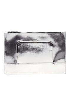 ASOS | ASOS Flat Clutch Bag With Metal Front Flap at ASOS