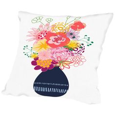 Found it at Wayfair - Bouquet Painted Throw Pillow