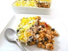 "Skinny and Vegetarian, Mexican Mac and Cheese Casserole! Perfect for ""Meatless Mondays""...This fiber packed mac and cheese is super rich tasting, very creamy with great Mexican food flavors. Each serving has 329 calories, 5 grams of fat, 8 Weight Watchers POINTS PLUS and 10 grams of fiber! http://www.skinnykitchen.com/recipes/skinny-and-vegetarian-mexican-mac-and-cheese-casserole/"