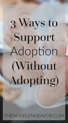 Many people love adoption, but don't know how to help. Here are three ways you can support adoption without actually adopting! - The Novel Endeavor