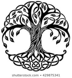Vector ornament, decorative Celtic tree of life Celtic Tree Tattoos, Celtic Tattoos For Men, Viking Tattoos, Celtic Patterns, Celtic Designs, Hand Tattoo Images, Tree Of Life Images, Tree Images, Tree Of Life Meaning