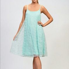 "NEW LISTING! {Moon Collection} Aqua Dress This dress is gorgeous! It is a beautiful mint color! It has a mint slip with a lace overlay. The straps are adjustable as well! Measurements: Small: bust- 17"" length- 40""; Medium: bust- 18"" length- 41""; Large: bust- 19"" length- 42"".               **Please do not purchase this listing! I will make a new listing for you! Thank you! Moon Collection Dresses"