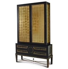 Rutherford Hollywood Regency Black Gold Leaf Eglomise Collector's Cabinet #hollywoodregency #kathykuohome