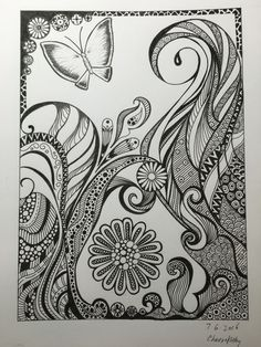 Zentangle doodle drawing of butterfly and flower