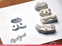 French Mustache Rubber Stamp Set...really, I just want the Bonjour stamp :