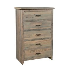 Reclaimed Barnwood Midland 5-Drawer Chest Spacious drawers that glide smoothly. Choose the soft close option for the ultimate dresser drawer. Made with reclaimed oak wood. Choice of stain and hardware. #rusticbedroom #reclameddresser