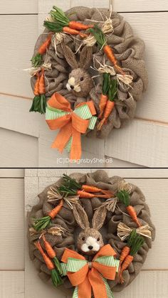 Burlap Easter Bunny Wreath- adorable spring wreath door hanger with carrots and a rabbit. Burlap wreath. Etsy find affiliate link