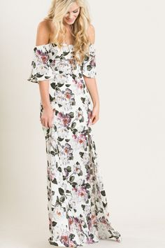 Sandra Purple Floral Off the Shoulder Maxi Dress