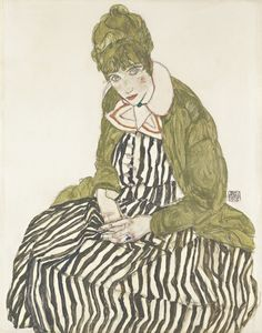 Egon Schiele, Edith Schiele in a Striped Dress, Sitting, 1915 © Leopold Museum, Vienna