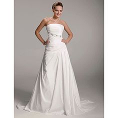 A-line Strapless Court Train Taffeta Side-draped Wedding Dress – USD $ 199.99