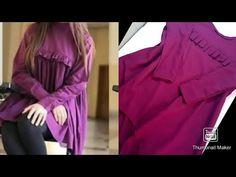 how to make high low kurti/top cutting and stitching easy simple Girls Top Design, Shirt Design For Girls, Fancy Dress Design, Stylish Dress Designs, Sleeves Designs For Dresses, Dress Neck Designs, Mirror Blouse Design, Wedding Saree Blouse Designs, Simple Kurti Designs