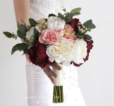Silk peony wedding bouquets available to order from Kate Said Yes Weddings