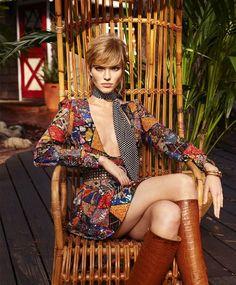 The New Bohemian: Sasha Luss by Terry Richardson for Harper's Bazaar US March 2015 - Saint Laurent