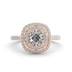 1.85 ct Cushion Cut Brilliant Moissanite & Round Diamond Engagement Ring 18k Rose Gold #cushioncutdiamonds